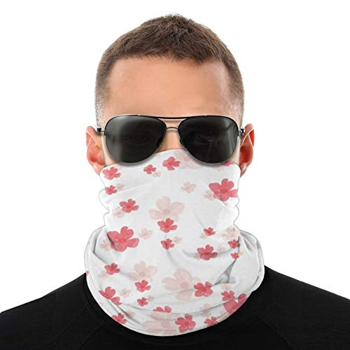 Half Face Mask Bandana Neck Warmer Cover Scarf Wrap Dust-Free Shield Scarf Beanie for Men Women, UV Protection, Cycling, Running - Pink Flower Petals Balaclava