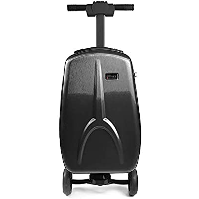 EXCLVEA Travel Suitcase Trolley Adult Electric Luggage Car Smart Charging Luggage Free Steering Portable Trolley Case Electric Scooter Travel Boarding Case 20 Inchs (Color : Black, Size : 55×25×35CM)