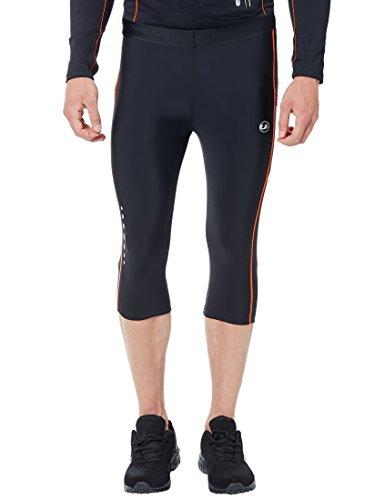 Ultrasport Herren Laufhose 3/4 mit Kompressionswirkung und Quick-Dry-Funktion, Schwarz (Black/Neon Orange), Large