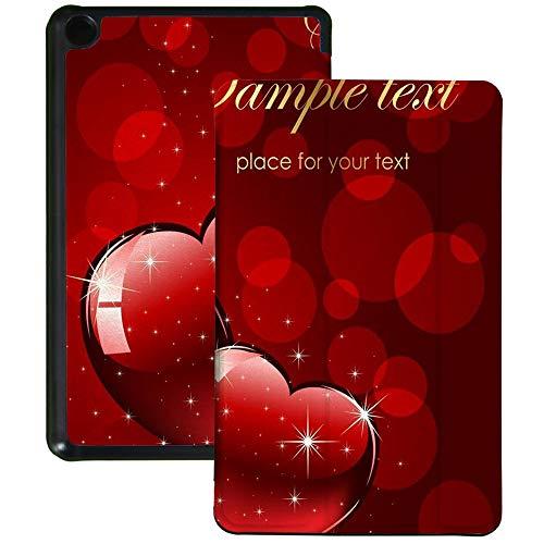 QIYI Funda para Kindle Fire 7 Tablet de 9ª Generación Infantil Impermeable Cubierta delgada ligera Plegable Soporte Múltiples Ángulo de Visión Smart Case con Auto Wake/Sleep - Red Love