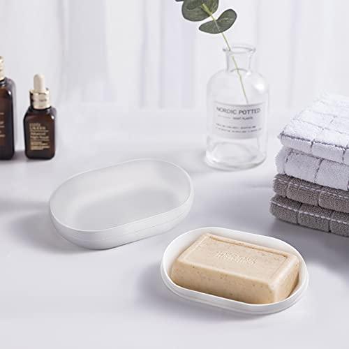 2 jaboneras con desagüe, soporte para jabón gris, caja de jabón de viaje, contenedor de jabón de baño, ahorradores de jabón para baño, camping, gimnasio, regalo, almacenamiento de viaje (blanc