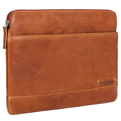 STILORD 'Robb' Vintage Leder Laptoptasche für 13,3 Zoll MacBooks MacBooktasche Universal Tablettasche bis 14 Zoll DIN A4 echtes Rindsleder, Farbe:Ocker - braun