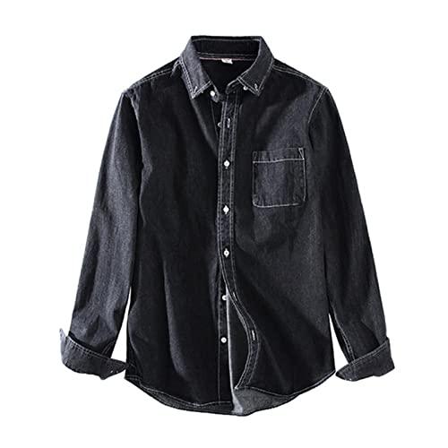 Fujida Camisa casual de manga larga con bolsillo en el pecho Camisa de mezclilla transpirable de algodón para primavera y otoño