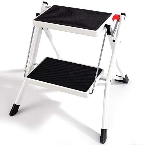 Trittleiter 2 Stufen Klappbar, Weiß Stahl-Leiter Haushaltsleiter mit Anti-Rutsch Matten, bis 150 kg Belastbar, Mini Stufenleiter ca 46 x 46 x 45 cm