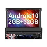 Vanku Android 10.0 Autoradio 1 DIN GPS Ecran Tactile numérique 7 Pouces Navigation de Voiture supporte Bluetooth WiFi 3G USB SD Commande au Volant Radio RDS OBD2 Dab+