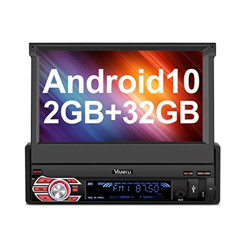 "Vanku - Android 10 Radio 1 DIN [2+32GB], Autoradio con GPS Navegador Soporte Bluetooth, Control Volante, WiFi, USB, SD, Mirror-Link, con 7"" Pantalla Táctil"