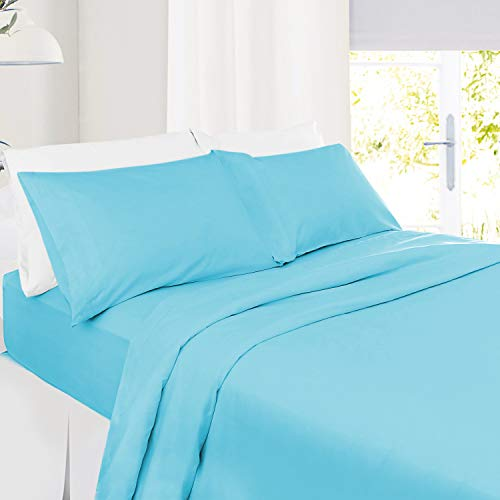 Twin Size Sheets – 3 Piece Twin Beach Blue Bed Sheet Set - Hotel Bed Sheets - Soft Microfiber Sheets - Easy Fit 8' to 14' Deep Pocket Fitted Sheets - 3 PC Sheets Twin Sheets - Bright Blue