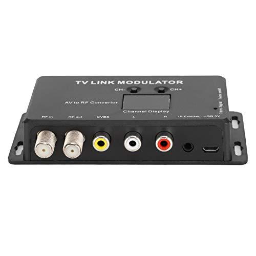Dpofirs Modulador UHF,TM70 TV Link Modulator AV to RF Converter IR Extender con Pantalla de Canal, Modulator Modulator AV to RF Converter IR Extender,Compatible con PAL/NTSC con Cable Carga USB