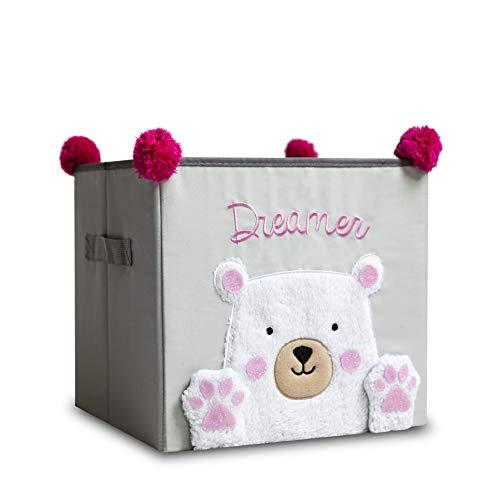 Bebik Kinder Aufbewahrungsbox I Spielzeugkiste mit Griffen für Kinderzimmer I Emma der Eisbär (30x30x28)