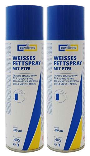 2x cartechnic Weißes Fettspray mit PTFE 300ml, Schmierfett Lagerfett Gelenkfett