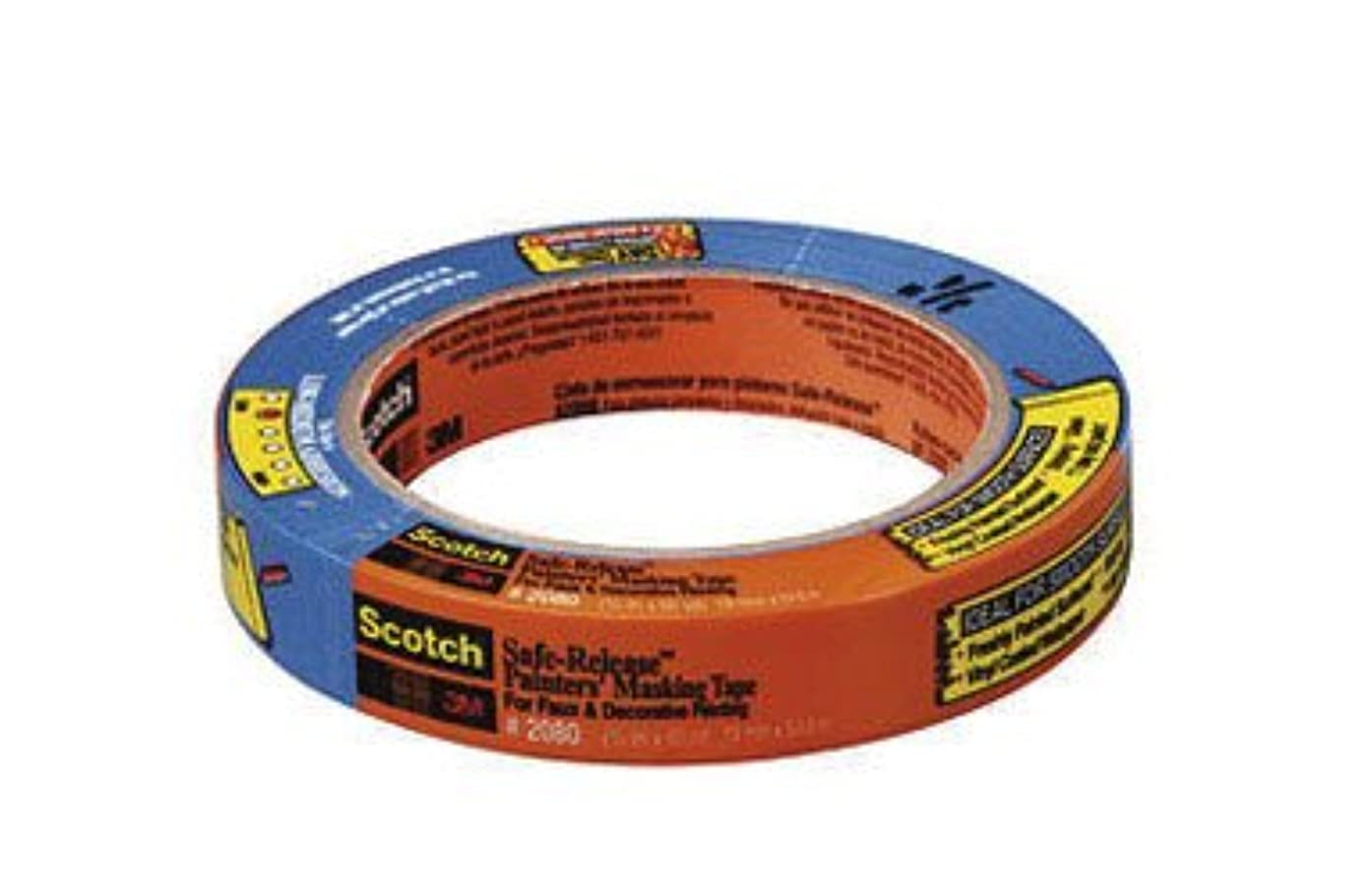 3M Scotch-Blue 2080 Safe-Release Delicate Surfaces Painters Masking Tape, 19 lbs/in Tensile Strength, 60 yds Length x 1-1/2