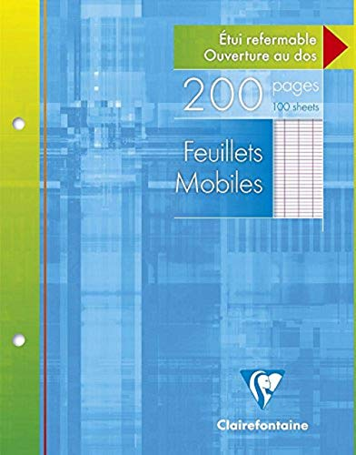 Clairefontaine 11351AMZC - Un lot de 2 étuis carton 200 pages Feuillets mobiles perforés 17x22 cm 90g grands carreaux