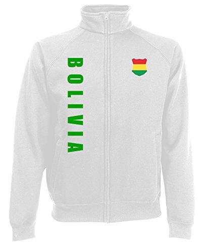 AkyTEX Bolivien Bolivia WM-2022 Sweatjacke Wunschname Nummer Weiß L