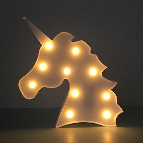 Lampes d'ambiance- Veilleuse LED licorne - Lampe de bureau - Pour chambre d'enfant - Décoration Einhorn, Weiß2