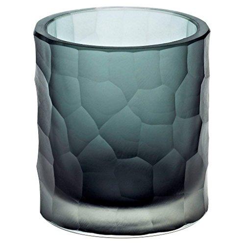 CRISTALICA Teelichtglas Kerzenhalter Votiv Windlicht Moonlight Höhe 9,5cm grau Handmade