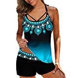 Blivener Plus Size Tankini Swimsuit for Women Two Piece Tummy Control Bathing Suits Beach Printed Modest Swimwear