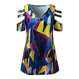 Julhold Camisa para mujer sexy cuello en V con cremallera color manga corta túnica, Morado (, S