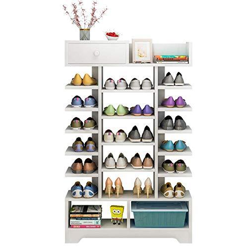 ShiSyan Bastidores de zapatos Zapato blanco Bastidores de madera compuesto plástico estante - multi-capa de almacenamiento de ahorro de espacio Fácil Ensamble (Color: Blanco, Tamaño: 80 * 25 * 132 cm)