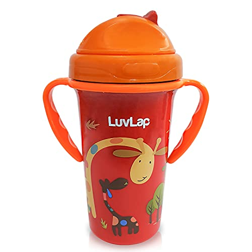 LuvLap Tiny Giffy Sipper for Infant/Toddler 300ml, Anti-Spill Sippy Cup with Soft Silicone Straw BPA Free, 18m+ (Orange)