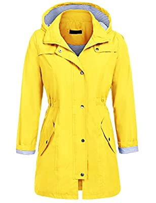 UNibelle Raincoat Women Lightweight Waterproof Active Outdoor Hooded Rain Jacket Windbreaker (Yellow, L)