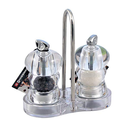 Swissmar Alice You and Me 4-Inch Pepper and Salt Mill Set with Tray, Clear