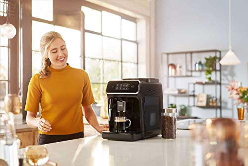 Philips 2200 Series Fully Automatic Espresso Machine w/ Milk Frother, Black, EP2220/14 6 Easy selection of your coffee with intuitive touch display, makes espresso, hot water and coffee From fine to coarse thanks to the 12 step grinder adjustment 20,000 cups of finest coffee with durable ceramic grinders