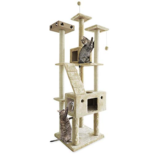 FurHaven Pet Cat Tree   Tiger Tough Cat Tree House Furniture for Cats & Kittens, Double Decker Playground, Cream (Renewed)
