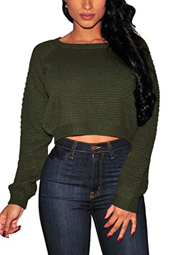 Pink Queen Women's Sweater,Long Sleeve Knit Pullover Crop Top Army Green Size S