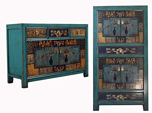 OPIUM OUTLET Asia Kombination aus chinesischem Schrank und Kommode Hochzeitsschrank Sideboard Anrichte Vintage Antik-Stil Shabby Chic (blau)