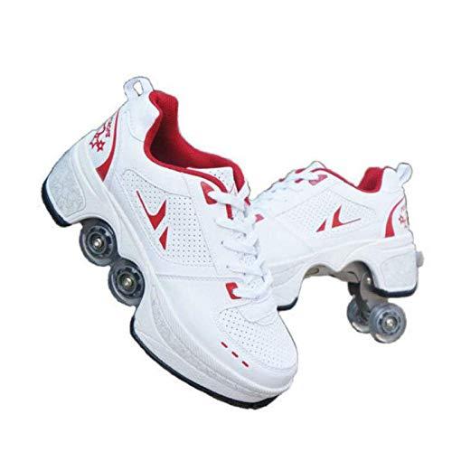 R&P Zapatos De Polea Deformación Multifuncional, Patines De Ruedas De Hielo Doble Fila Quad Patinaje Deportes al Aire Libre para Adultos Niño,White Red,34