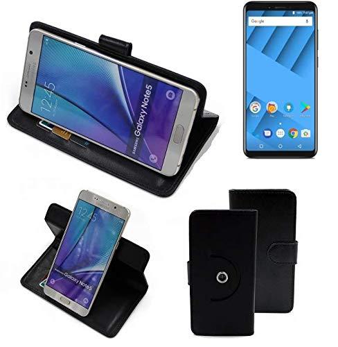 K-S-Trade® Handy Hülle Für Vernee M6 Flipcase Smartphone Cover Handy Schutz Bookstyle Schwarz (1x)