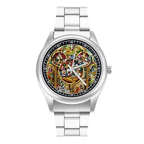 Mickey Mouse Beauty Beast Tinker Bell Peter Pan Reloj de pulsera de estilo deportivo casual de negocios con correa de acero