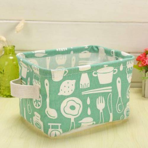 N+A Cotton and Linen Portable Desktop Storage Basket, Cabinet Cloth Storage Basket, Storage Bucket