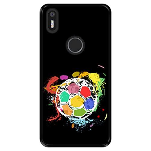 Hapdey Funda Negra para [ Bq Aquaris X5 Plus ] diseño [ Balón de fútbol Abstracto, Multicolor ] Carcasa Silicona Flexible TPU