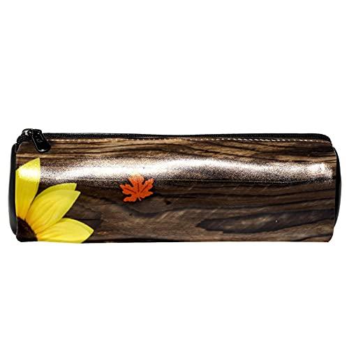 Hermoso girasol en marrón textura de madera de cuero barril lápiz caso monedero bolsa de maquillaje cosmético bolsa para estudiantes papelería escuela trabajo oficina almacenamiento