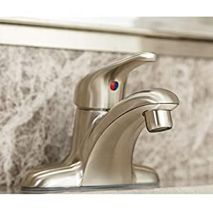 Enzo Rodi Full-Metal Single-Handle 4 inch Center-Set Bathroom Sink Faucet Without Drain Assembly, with 2pcs Waterline, Brushed Nickel PVD, ERF1214255AP-10