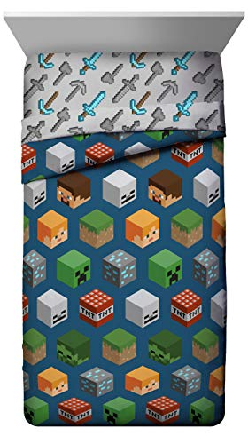 Jay Franco Minecraft Isometric Characters Twin Comforter - Super Soft Kids Bedding Features Creeper - Fade Resistant Polyester Microfiber Fill (Official Minecraft Product)