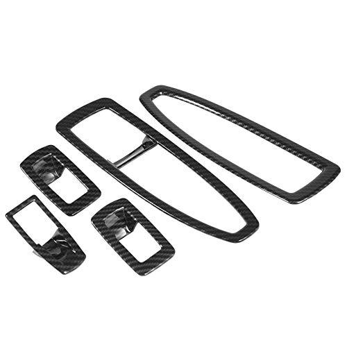 5 piezas de embellecedor de cubierta de botón de ventana, embellecedor de botón de ventana, estilo de fibra de carbono de plástico ABS duradero para BMW Serie 3 F30 13-18