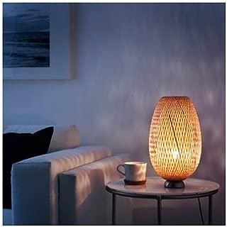 IKEA - BÖJA Table lamp, nickel plated, rattan + E26 bulb