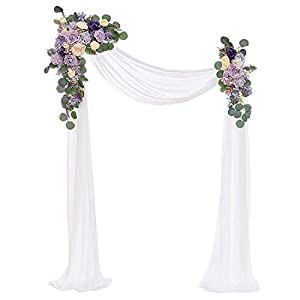 Silk Flower Arrangements Ling's moment Artificial Wedding Arch Flowers Kit(Pack of 3) - 2pcs Aobor Floral Arrangement with 1pc Semi-Sheer Swag for Ceremony and Reception Backdrop Decoration (Dusty Lilac)