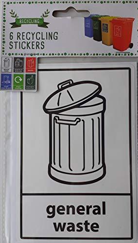Paquete de 6 pegatinas de reciclaje de cubos de basura de goma y diferentes tipos de papeleras