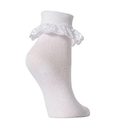 Mädchen Socken mit Rüschen, 3 Paar (EUR 16 (0-6 Monate)) (Weiß)
