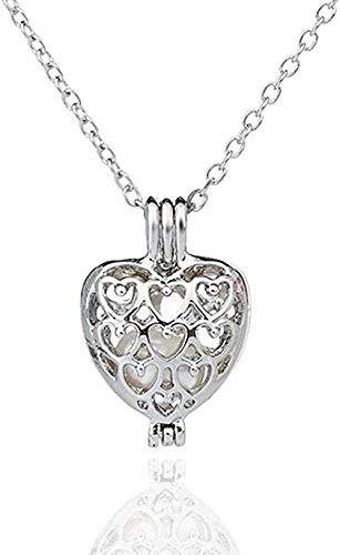 CAISHENY Collar para Mujeres Hombres Collar Collar de Perlas Collar de Flores Collar con Colgante de corazón Hueco para Mujeres Niñas Collar de Regalo Cadena Colgante para Mujeres Hombres