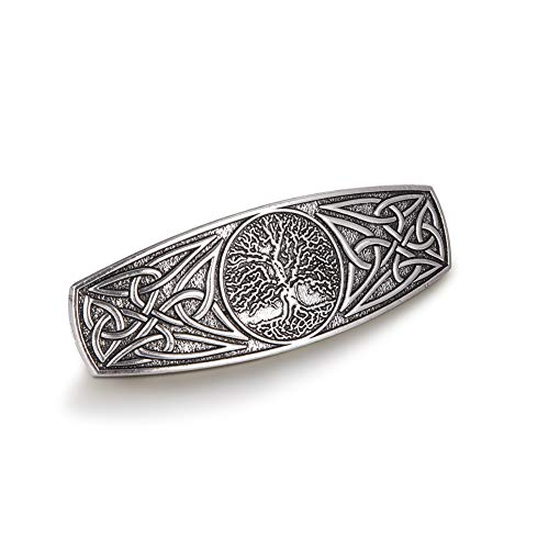 TEAMER Fashion Vintage Celtic Knot Hair Clip Metal Barrettes Hair Accessories Pattern Engraved Headwear Styling Gifts for Women Girls (Tree of Life, Antique Silver)