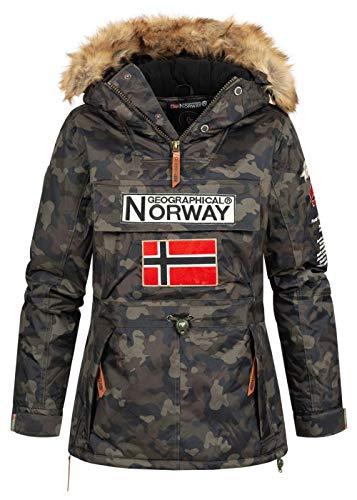 Geographical Norway Damen Winterjacke Bridget Parka Jacke Kapuze Webpelz abnb. Skijacke Camouflage, kaki, Gr:L