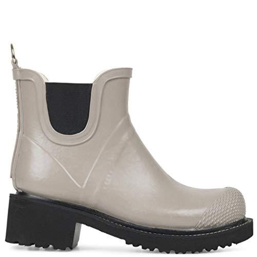 Ilse Jacobsen Stiefelette | Gummistiefel Kurzschaft Schuhe | Boots mit Absatz und Elastik Band schwarz innen und außen | RUB47 Grau 39 EU