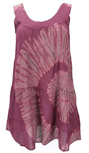 GURU SHOP Plus Size Batik Tunika, Strandkleid, Tunika für Starke Frauen, Damen, Plum, Synthetisch, Size:44, Kurze Kleider Alternative Bekleidung