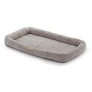 PoochPlanet LuxuLounger Crate Mat, Dog Bed, Cushioned, Durable Plush, Soft, Textured, Bolstered, Gray, Medium (28.5×18)