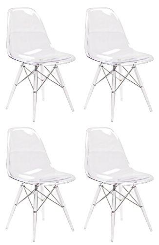 Meubletmoi 4 stuks trendy stoelen van polycarbonaat - collectie ZAHO - kleur transparant
