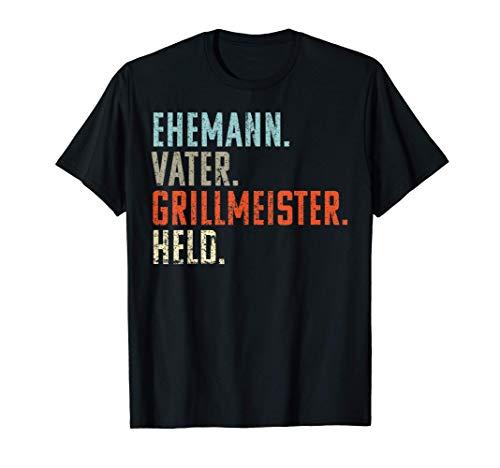 Herren Ehemann Papa Grillmeister Held   Grill Feuergott Geschenk T-Shirt
